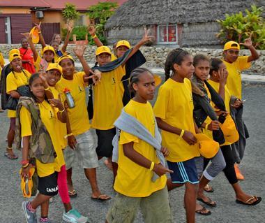 La délégation de la province des Îles lors du défilé d'ouverture des 5es Jeux interprovinciaux. © Photos F. Wenger / province Sud