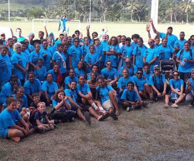Des participants de la JISAP ont posé avant le départ pour les randonnées dans le magnifique domaine de Deva, à pied ou en VTT.
