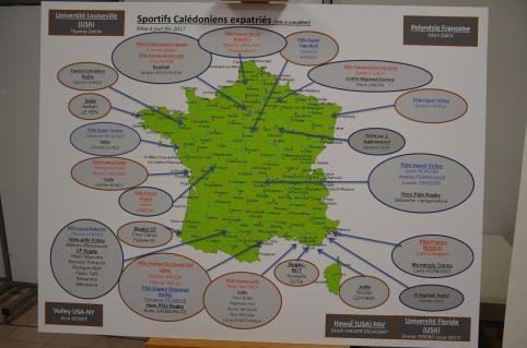 La carte des sportifs calédoniens qui ont intégré des pôles d'entraînement en France ou qui s'illustrent à l'étranger.